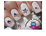50pc Holiday 4th of July - American Flag Heart Star Waterslide Nail Art Decals