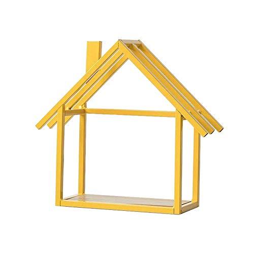 LVAB Wandregal aus Holz schwebender Kubus Hauswand Regale nordische Art Hauswand hängende Dekoration (gelb) 1 Stück