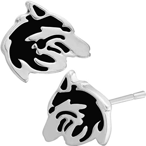 Wolf Crescent Moon Celtic Know Stud Earrings (Wolf Profile)