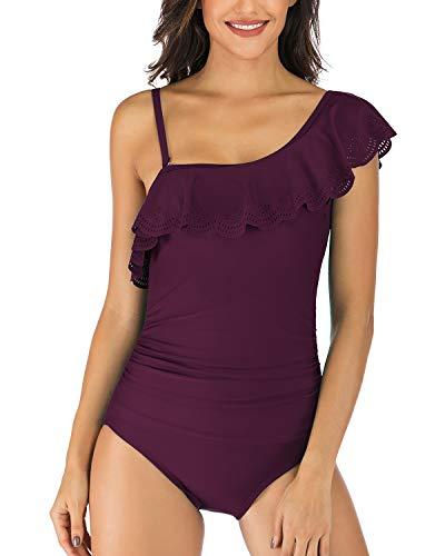 Mojessy Swimwear for Women - Sexy Ruffle One Shoulder Tummy Control Bathing Suits XX-Large Dark Purple