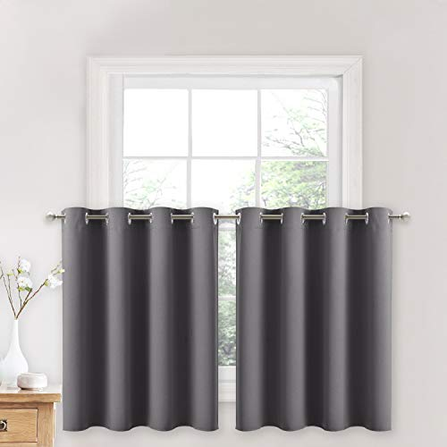 NICETOWN Blackout Kitchen Window Curtains - Thermal Insulated Blackout Grommet-Top Drapes for Cafe Store/Basement/Bathroom (Grey, 2 Panels, 52W by 36L + 1.2 inches Header)