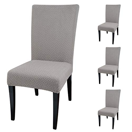 Qishare 4 Pack Dining Chair Covers Fit Stretch Elastic Universal Washable Anti-dust Parsons Chair Seat Protector Slipcovers for Dining Room, Hotel, Ceremony, Wedding, Party(Taupe)