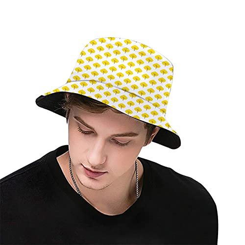 Autumn,Yellow Tone Fall Leaves Seasonal Continuous Doodle Pattern Simplicity Theme Image,Fashion Women's Men's Summer Bucket Hat Outdoor Sun UV Protection Casual Fishing Cap Couple Hats