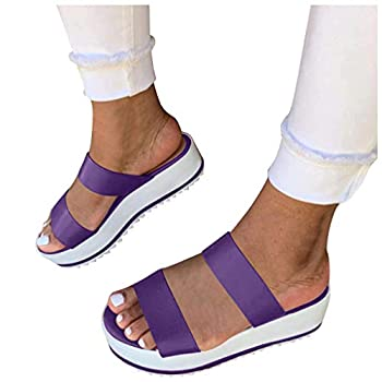 Heel Sandals for Women Ulanda Women s Summer Sandals Casual Open Toe Platform Flat Flip Flop Sandals Shoes Purple