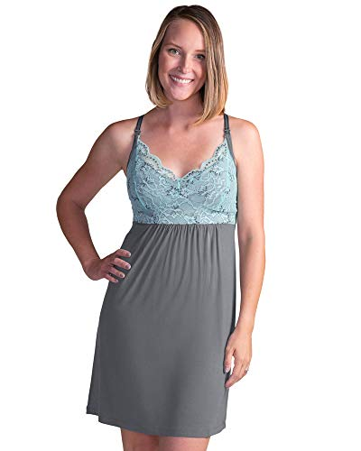 Kindred Bravely Lucille Nursing Nightgown & Maternity Gown (Ocean Mist, XXL)
