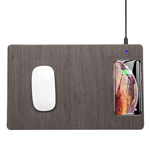 10W Draadloze Oplader Opladen Muismat Mat PU Leather Mousepad - Voor Iphone 11 X 8 Plus Samsung S8 Plus Note 8,A