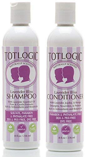 TotLogic Kids Shampoo & Conditioner Set - Sulfate and Paraben Free, Phthalate Free, Non-Toxic Plant Based Natural Formulas - Gentle & Hypoallergenic for Senstive Skin (Lavender)