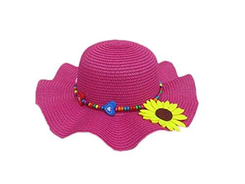 Da. WA Princesse Filles Enfants d'été Chapeau Soleil Fleur Chapeau de Paille tressé Chapeau de Paille Enfant Chapeau de Soleil de Plage pour l'extérieur Voyage