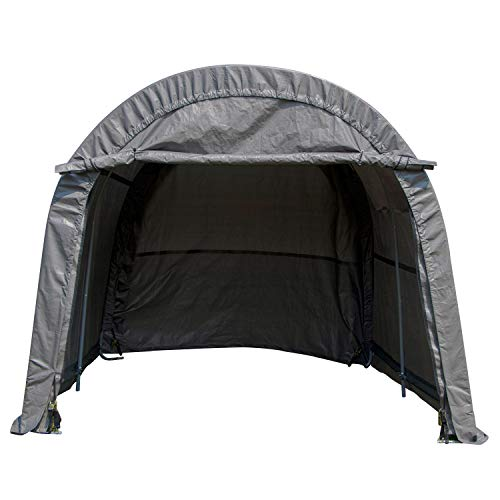 WALCUT Portable Carport Heavy Duty Car Canopy Garage Storage Shelter for Patio Outdoor Shed, Gray 10x10x8ft, Round Top