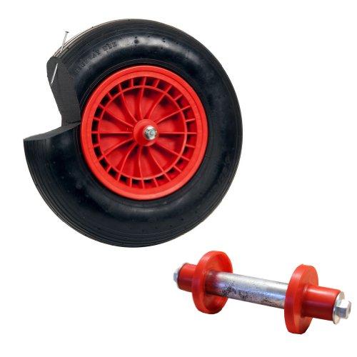 pro-bau-tec PU Ersatzrad schlauchlos pannenfrei für Schubkarre mit Montagematerial, rot, 10124