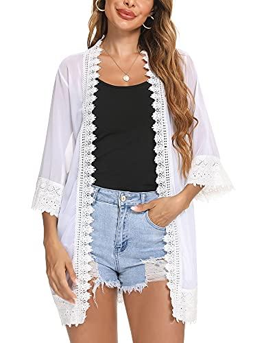 Aibrou Damen Sommer Strand Cardigan Leichte Spitze Strickjacke 3/4 Arm Chiffon Wasserfall Beachwear Bikini Cover Up Jacke