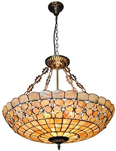 Tiffany-Stil Kronleuchter Restaurant 24 cm breit, dekoriert mit Perlmutt Blumenmuster, natürliche Shell Lampenschirm, Schlafzimmer Büro, Esszimmer, Café