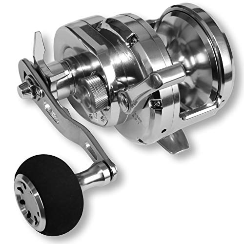 Fiblink Fishing Reel,Max Drag 44lb Trolling Reel,Strong Aluminum Reel with 8+1 Stainless Steel Bearings,5.2:1 Gear Ratio,Conventional Jigging Reel for Saltwater Big Game (Noeby) (Silver--Right-Handed)