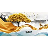 Avdgfr HD Art Print Images-[Nordic Art Modern Golden Trees] Canvas Prints Wall Art-Colorful Wall Decorative Canvas Art Pictures 50x150cm Frameless