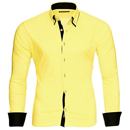 Reslad Herren Hemd Männer Hemden Slim Fit bügelfrei Freizeit Business Langarm 2 Knopf 2 Kragen RS-7050 Gelb Schwarz Gr XXL