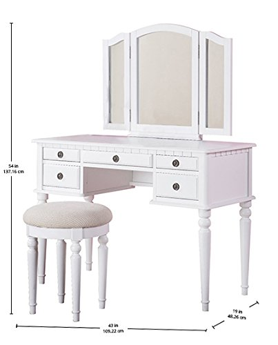 Bobkona F4074 St. Croix Collection Vanity Set with Stool