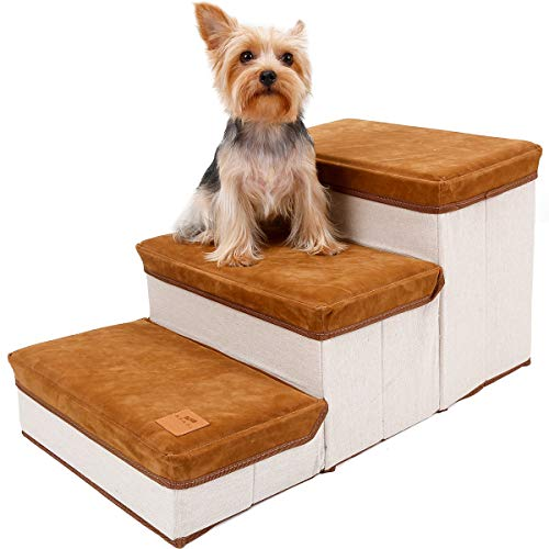 A.FATI Dog Folding Steps Stairs 3-Step for High Bed with Foam &Storage Compartment Puppy Supplies, Dog Stuff Ideal for Couch Chair Furniture Car, Foldable Washable Removable Cove(Brown)