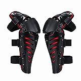RENNICOCO Genouillère Moto Cross Protection Genoux Tibia Équipement Professionnel Adulte Homme ou Femme 1 Paire Noir/Rouge