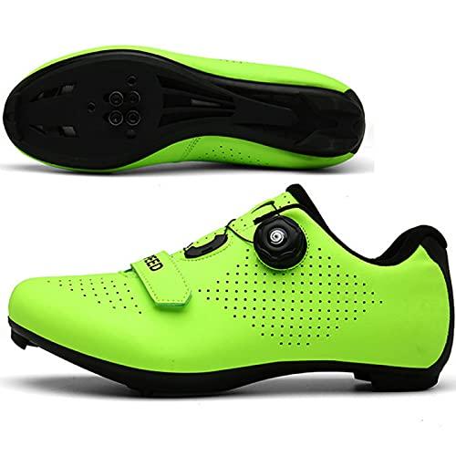 AGYE Zapatillas de Ciclismo, Calzado de Ciclismo para Hombre,Zapato de Bicicleta con SPD,Zapatillas Peloton con Hebilla Delta Compatibles,Green-43