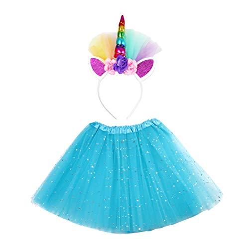 ABOOFAN 2 pcs Kid Performance Midiskirt Gauze Stars Saia Unicórnio Hairband Set Bela decoração saia para menina Kid Child (vestido de princesa azul lago + grampo de cabelo) Favors de Festa