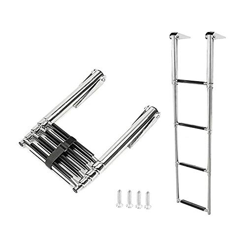 Marinebaby 4 Step Over Platform Stainless Steel Telescoping Extendable Ladder for Boat Yacht