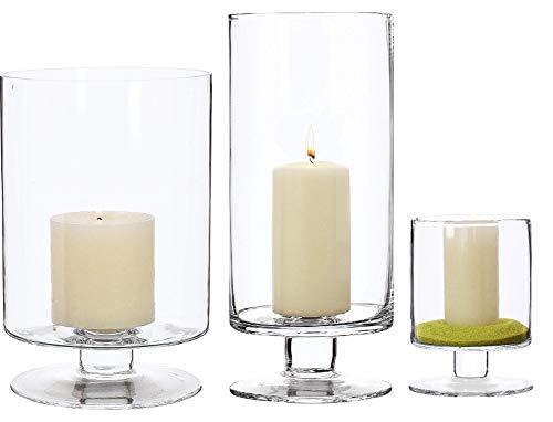 SOLAVIA Glazen Cilinder Kandelaar Tafeldecoratie Vaas Set van 3, Bruiloft Decor, Huishoudelijk Cadeau, 24cm, 30cm, 14,5 cm