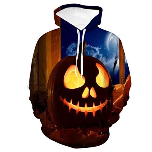 MAYOGO Halloween Kapuzenpullover Halloween Hoodie Kürbis Sweatjacke Pullover Mit Kaputz Horror Kostüm Sweatshirt 3D Hoodie Kapuzen Pullover Übergangsjacke Hoode Halloween Kostüm Herren