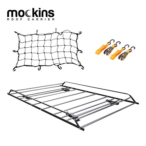 "Mockins Roof Rack Rooftop Cargo Carrier with Cargo Net and Ratchet Straps | The Steel Luggage Rack is 57"" Long X 37.7"" Wide X 4.3"" Tall with A Hauling Weight of 200 Lbs"
