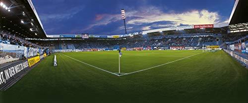 Blue-Letter Stadion Rostock – Eckfahne – - hochwertiger FineArtPrint (120 cm x 50 cm)