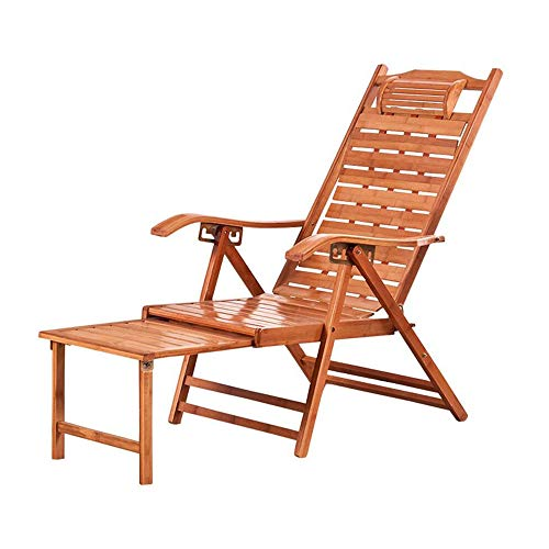 YUPING Recliner Folding Eco-friendly Bamboo Leisure Chair Outdoor Multifunctional Beach Chair Portable Angle Adjustment