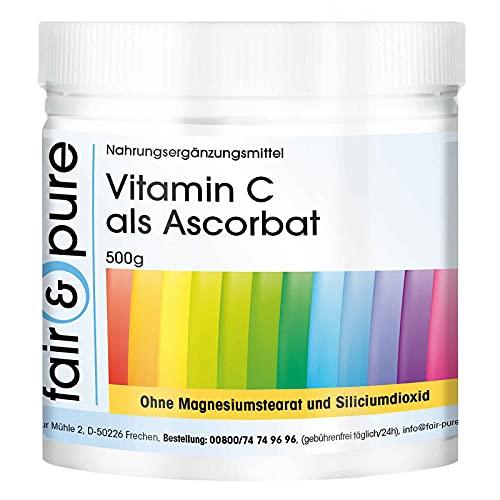 Vitamina C en forma de ascorbato - 500g en polvo - 100% puro sin aditivos - Vegano - antioxidante natural