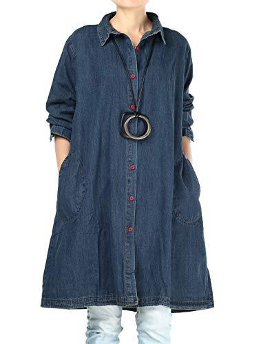 Mallimoda Donna Vestito Camicia Manica Lunga Jeans Maglia Casual Elegante Basic Blu M