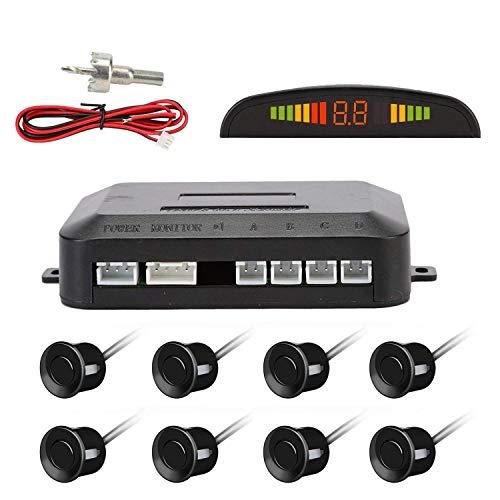 OSAN Sensori Parcheggio, Kit Auto LED Display + Suono Allarme Radar Retromarcia Antigelo Impermeabile + 8 Sensori Nero