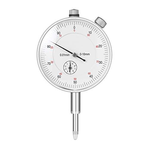 UEETEK Mechanische Messuhr Sondenanzeige Zifferblatt Test Messbereich 0-10mm Dial Test Indicator (Silber)