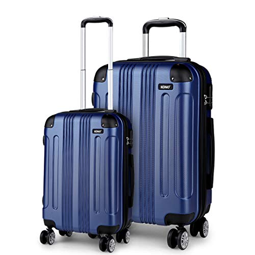 Kono Lightweight Luggage Set of 2 Hard Shell 4 Wheel Travel 56cm Cabin Plus 75cm Large Check in Suitcase (Navy Set)
