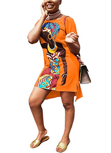 OLUOLIN Womens Summer T-Shirt Mini Dress - Casual Juniors Sexy Short Sleeve Tunic African Print Dresses Orange