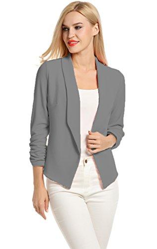 POGT Grey Blazers for Women,Light Cute Blazer Lightweight Suit Jacket (M, Dark Gray)
