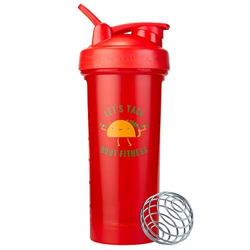 BlenderBottle Just For Fun Classic V2 Shaker Bottle, 28-Ounce, Let's Taco 'Bout Fitness