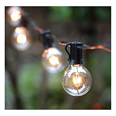 100Ft Outdoor Patio String Lights with 100 Clear Globe G40 Bulbs,UL Certified for Patio Porch Backyard Deck Bistro Gazebos Pergolas Balcony Wedding Gathering Parties Markets Decor, Black