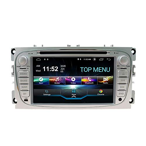 SWTNVIN Android 10.0 Coche Audio Cabezal estéreo Fits for Ford Mondeo Focus Fusion Transit Fiesta Galaxy Reproductor de DVD Radio 7Pulgadas HD Pantalla táctil navegación GPS 2GB+80GB(Plata09)
