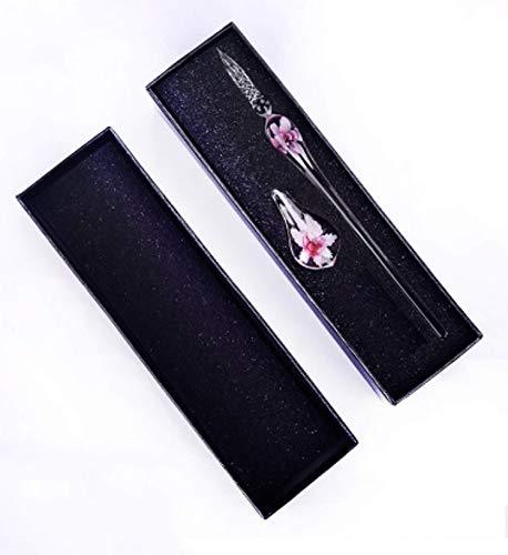 ガラスペン 花柄 つけペン 文房具 ハンドクラフト 透明 細字 ペン置き 2点セット プレゼント 箱付き インクなし (ピンク)