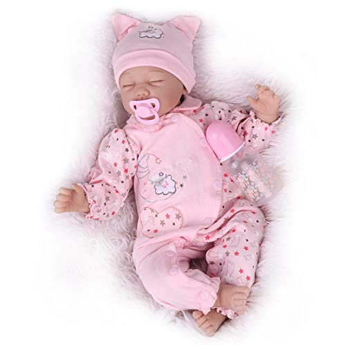 CHAREX Reborn Baby Dolls, Realistic Newborn Baby Doll Girls, 22 Inch Real Life Weighted Soft Vinyl Silicone Sleeping Newborn Baby Doll for Age 3+