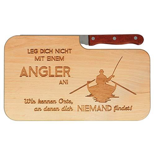 Spruchreif Frühstücksbrett mit Messer inkl. Gravur Leg Dich Nicht mit einem Angler an | Messerbrettchen fürs Angeln | Geschenke für Angler