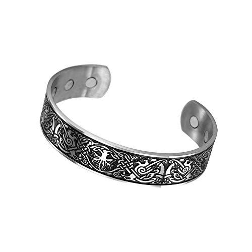 Brazalete de acero inoxidable con nudo celta Phoenix patrón de metal