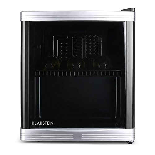 Klarstein - Beerlocker, Mini-Bar, Mini-Nevera, Nevera para Bebidas, 46 Litros, 43 x 50 x 48 cm (ancho x largo x profundo), Silencioso, 1 Estante, Puerta con apertura direccionable, Negro