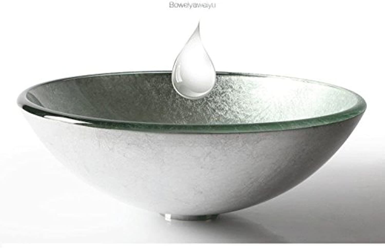 FANGYAO Gehrtetes Glas-Waschbecken (420  145  12 mm) , Silber