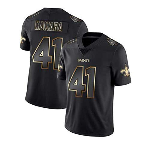 Alvin Kamara - New Orleans Saints Rugby-Trikot für Männer 41# American Football Jugendtrainingsanzug Schnelltrocknendes, atmungsaktives T-Shirt mit V-Ausschnitt Black B-XL