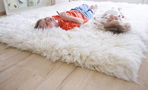 Steffensmeier Flokati Teppich Flokati 4000 | Wolle, Natur, Größe: Ø 195 cm Rund, Original aus Griechenland, Wohnzimmerteppich, Schlafzimmerteppich