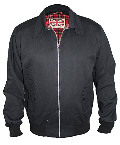 SKYTEX UK Harrington Chaqueta Retro/Mod/Scooter (XL, Negro)