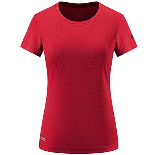 emansmoer Femmes Respirant Manches Courtes Ras du Cou T-Shirt Dames Outdoor Séchage Rapide Wicking Camping Randonnée Running Tee Shirt Casual Sports Tops (Large, Rouge)